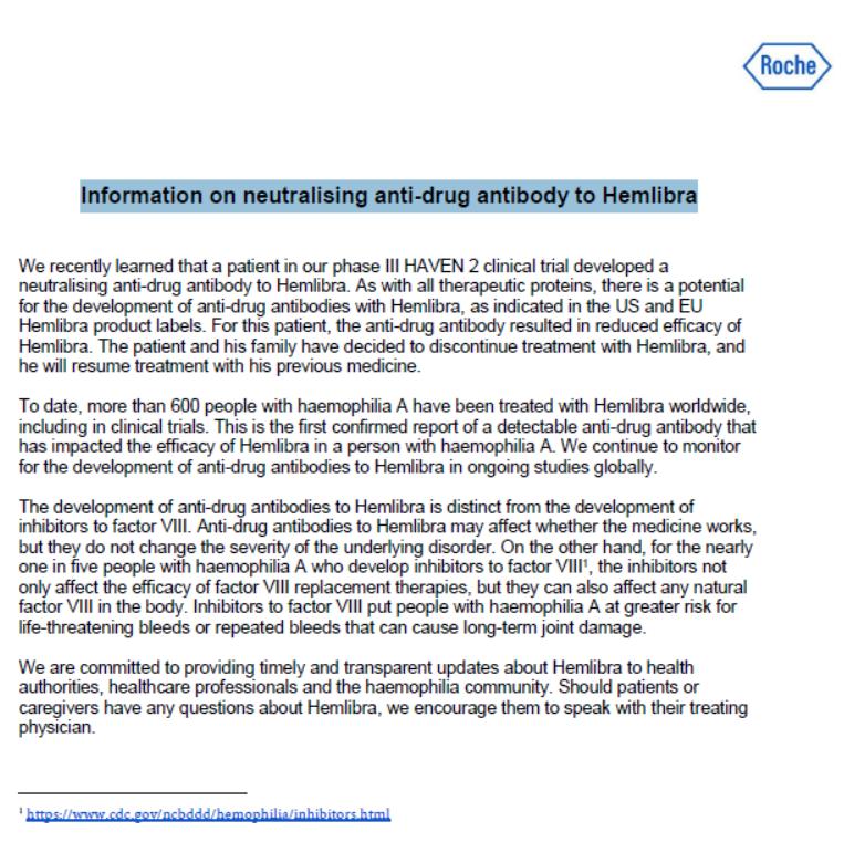haven2 - Documentato il primo caso di un inibitore netraulizzante l'emicizumab in un paziente arruolato nello studio Haven